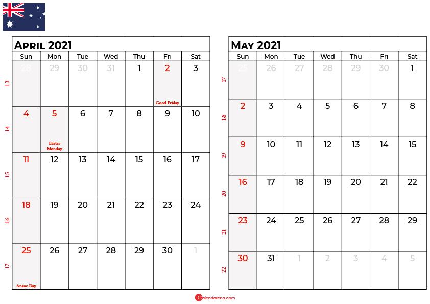 calendar april may 2021 AU