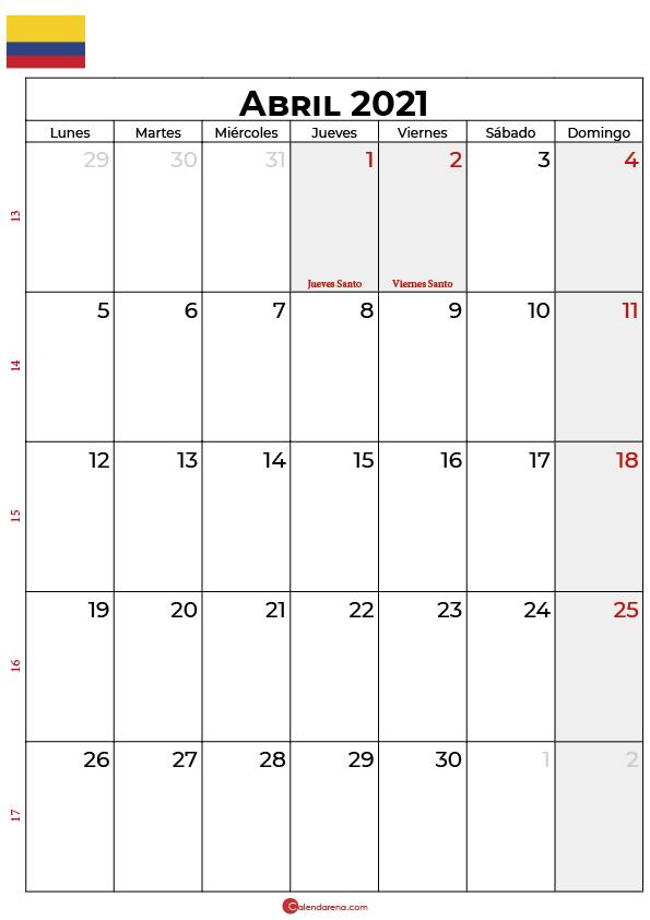 calendario 2021 abril colombia