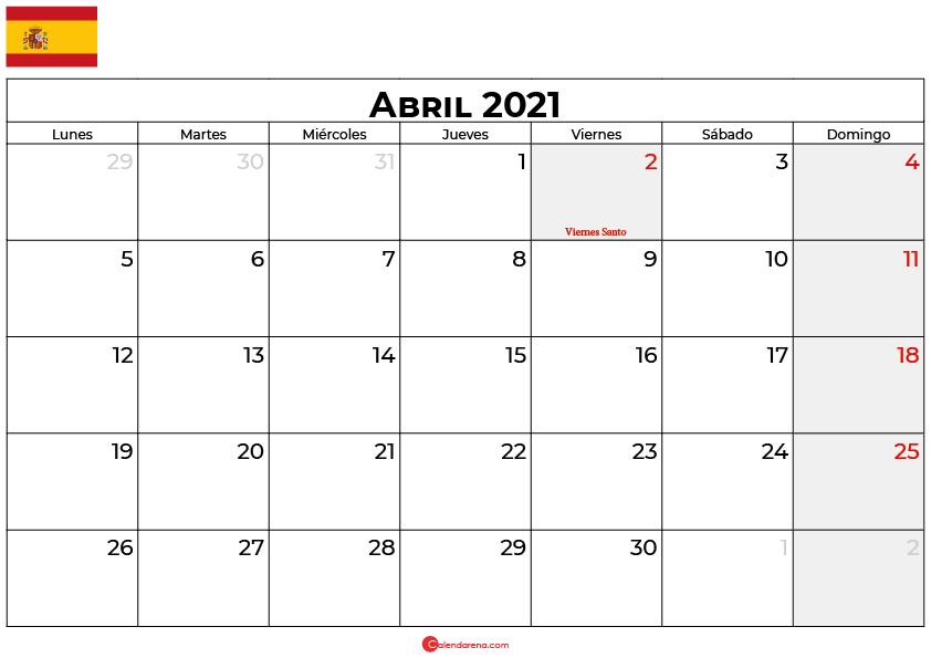 calendario 2021 abril espana