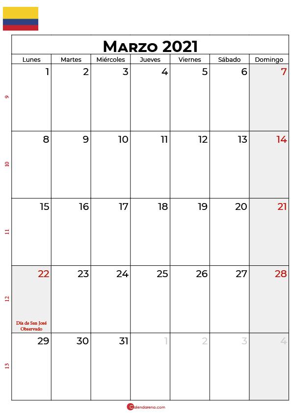 calendario 2021 marzo colombia