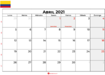 calendario abril 2021 colombia