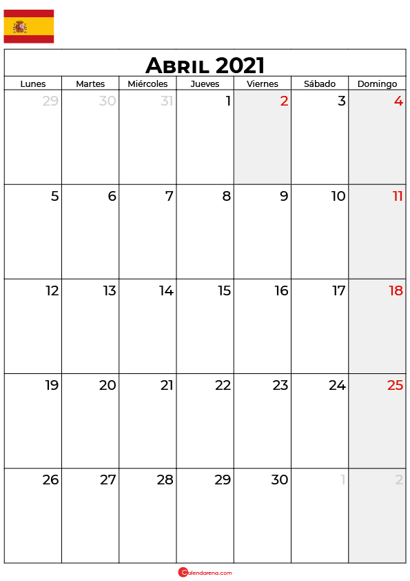 calendario abril 2021 espana