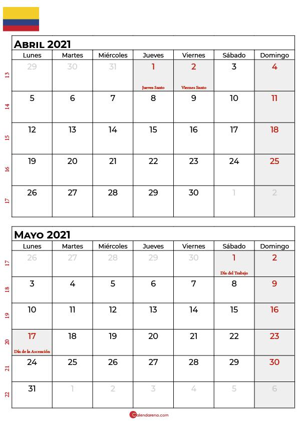 calendario abril mayo 2021 colombia