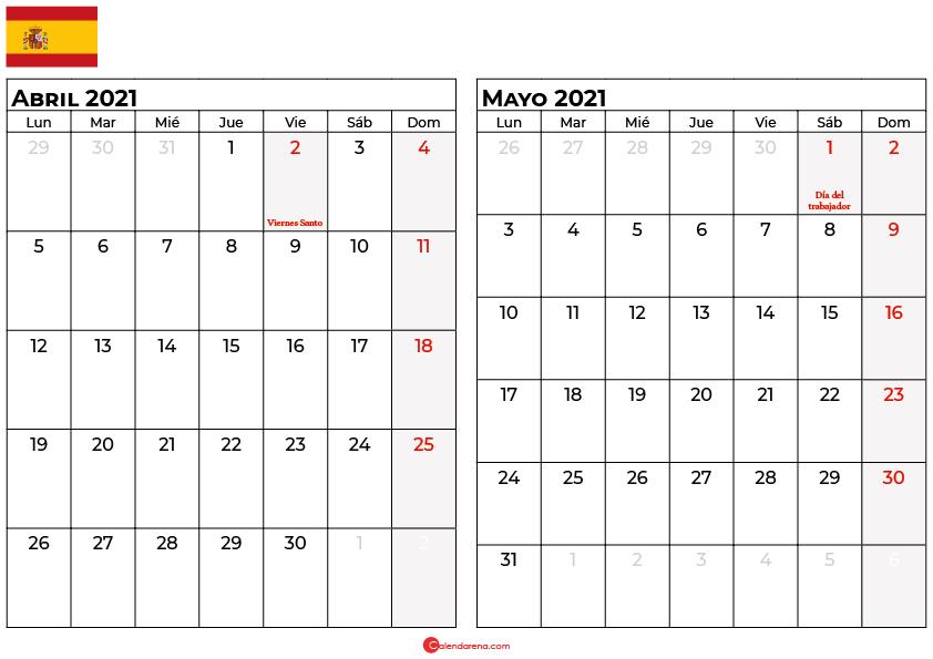 calendario abril mayo 2021 espana