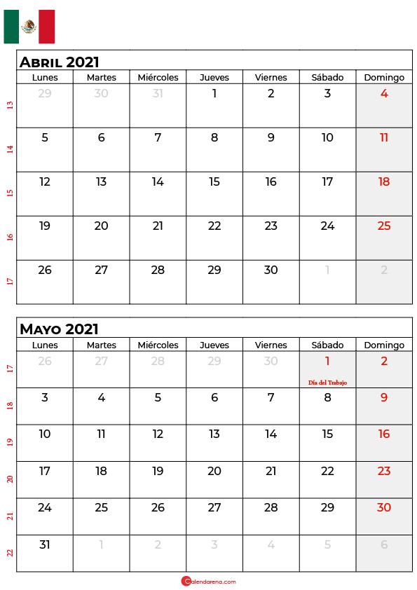 calendario abril mayo 2021 mexico