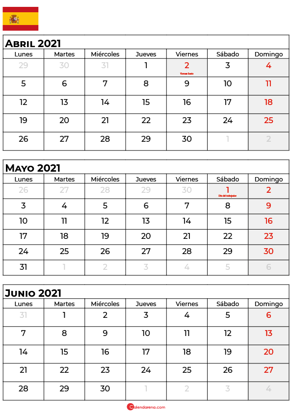 calendario abril mayo junio 2021 espana