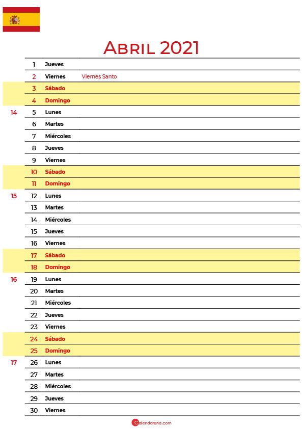 calendario de abril 2021 espana