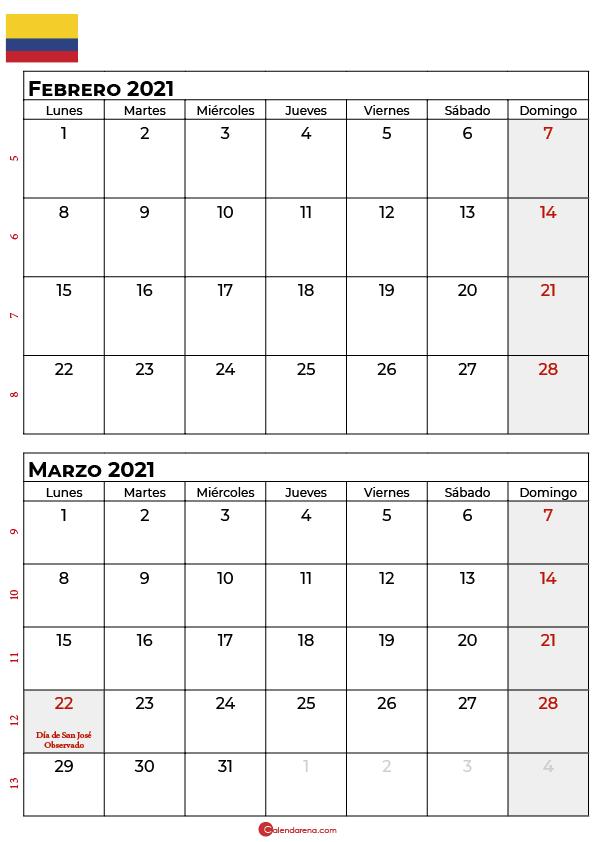 calendario febrero marzo 2021 colombia