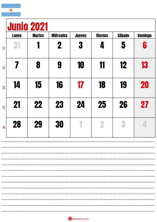 calendario junio 2021 argentina notes