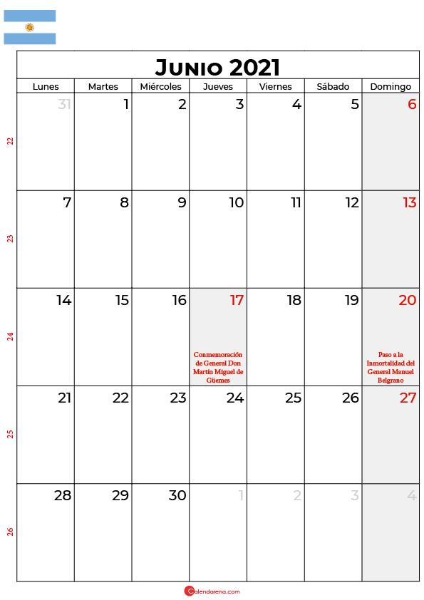 calendario junio 2021 argentina