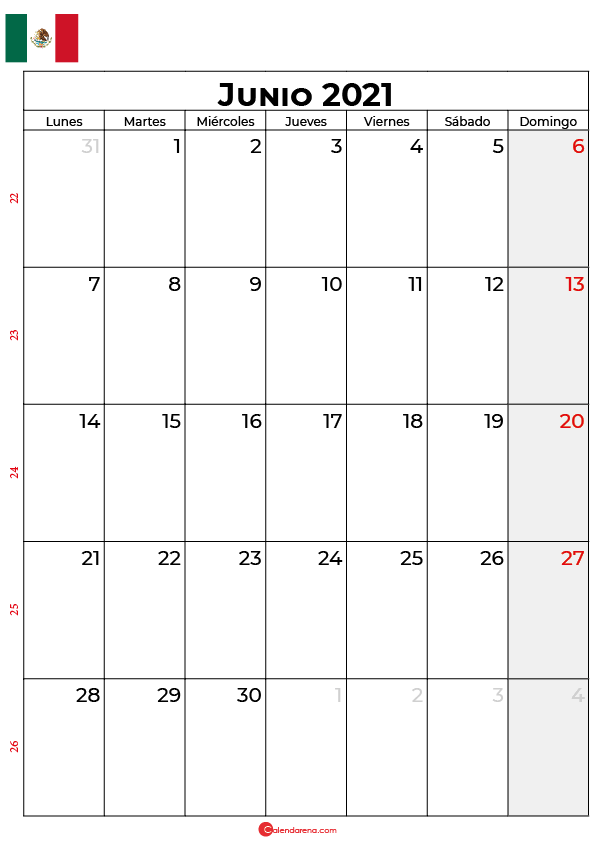 calendario junio 2021 mexico