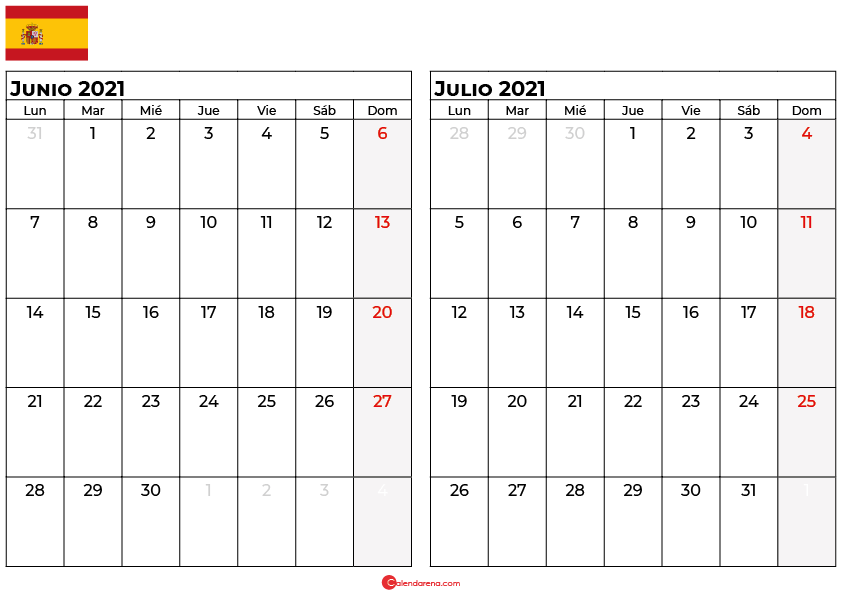 calendario junio julio 2021 espana