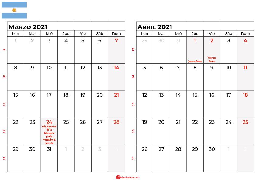 calendario marzo abril 2021 argentina