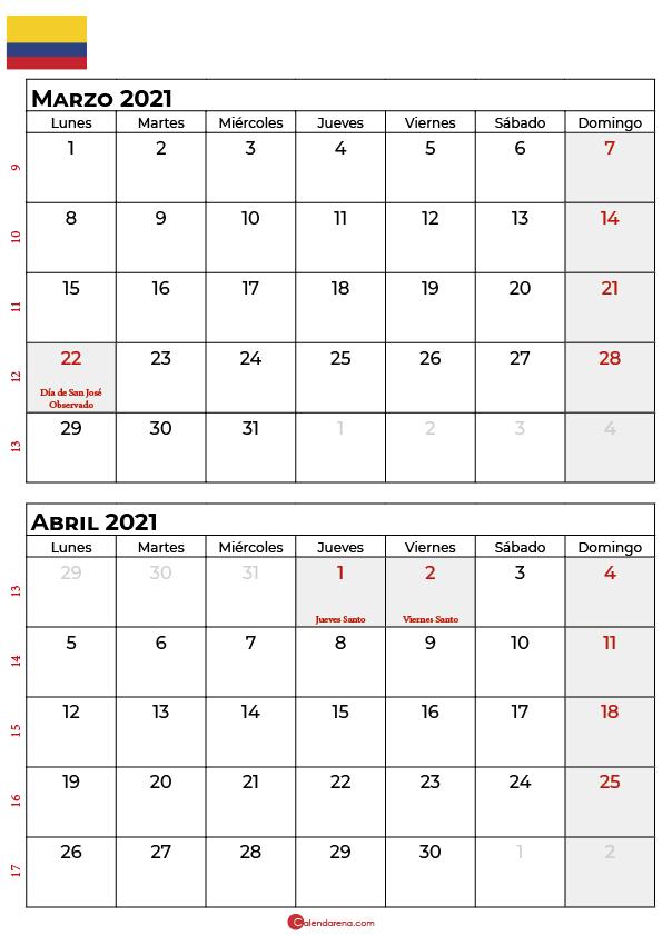 calendario marzo abril 2021 colombia