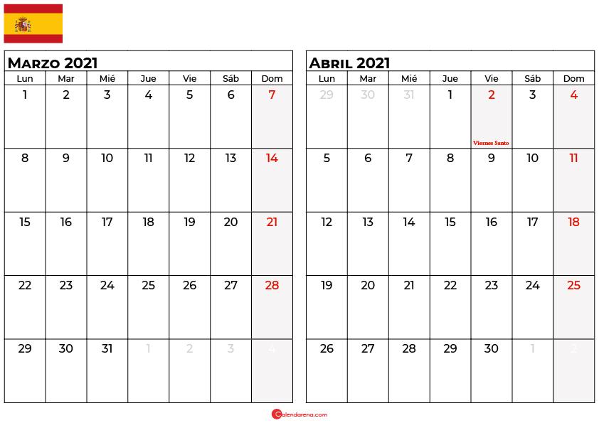 calendario marzo abril 2021 espana