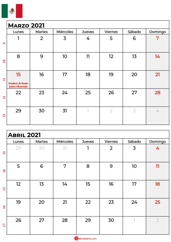 calendario marzo abril 2021 mexico