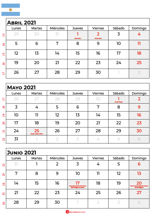 calendario marzo abril mayo 2021 argentina