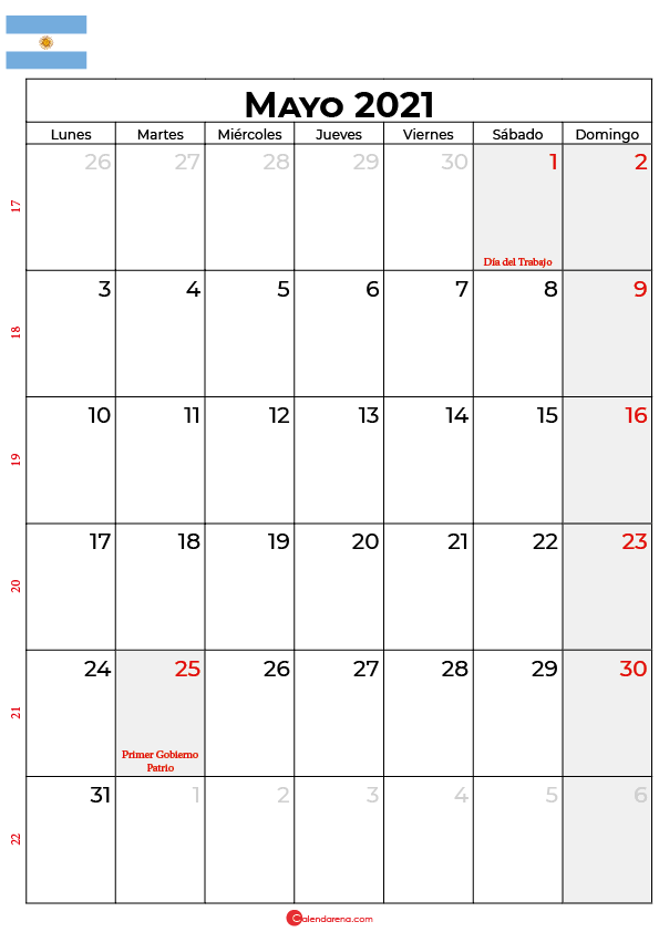 calendario mayo 2021 argentina
