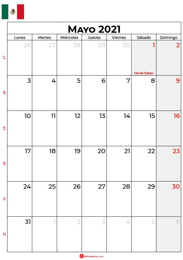 calendario mayo 2021 mexico