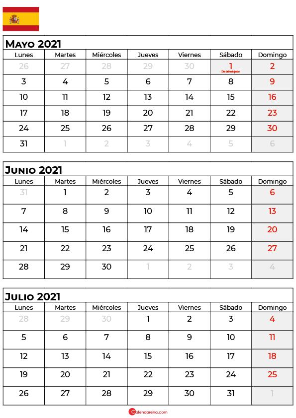 calendario mayo junio julio 2021 espana