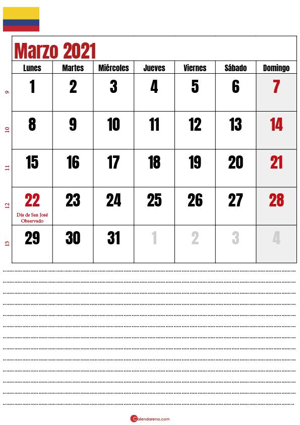 calendario mes de marzo 2021 colombia
