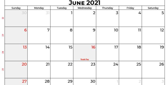 june 2021 calendar SA