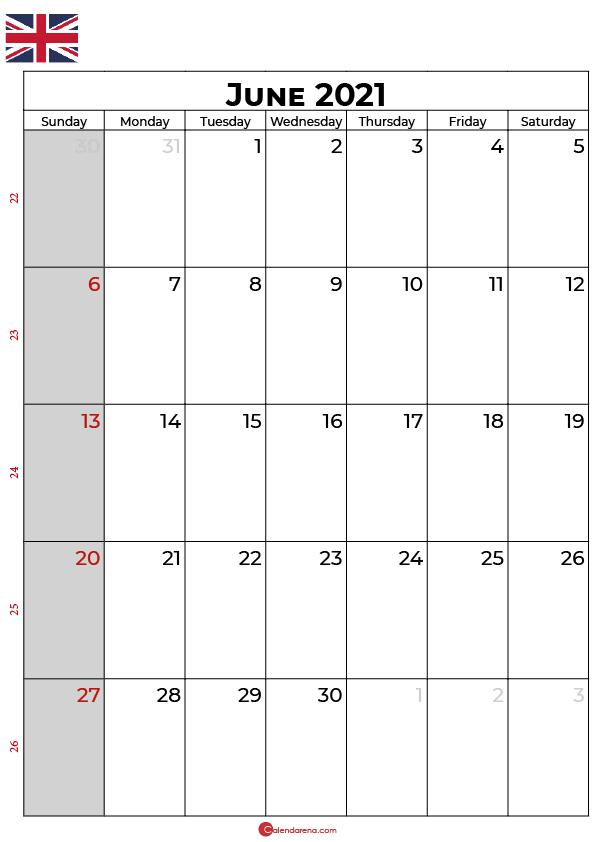 june 2021 calendar uk