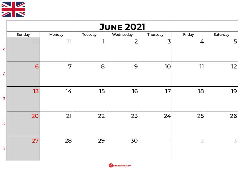 june calendar 2021 UK