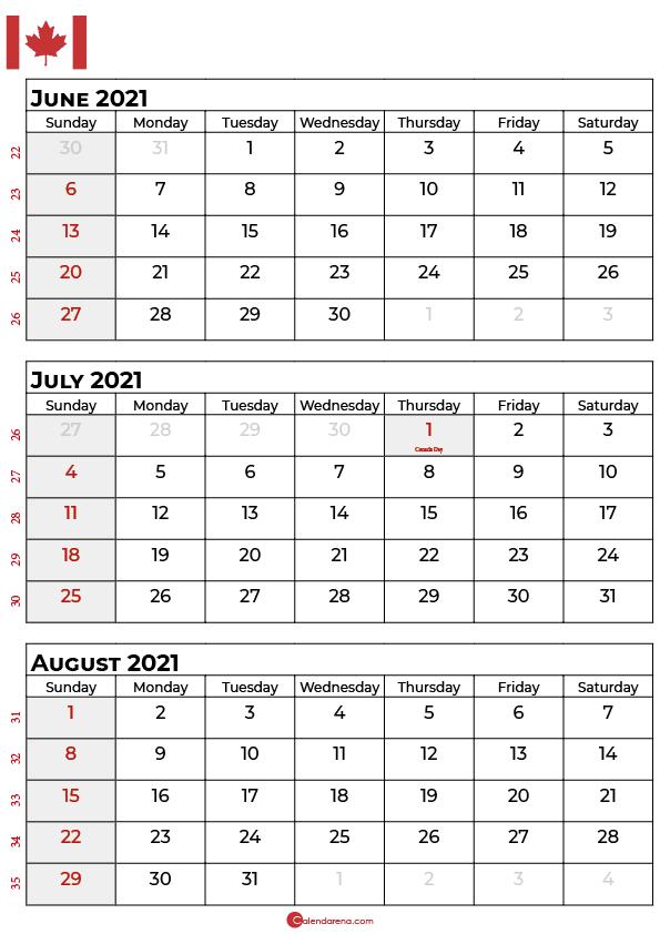 june july august 2020 calendar canada