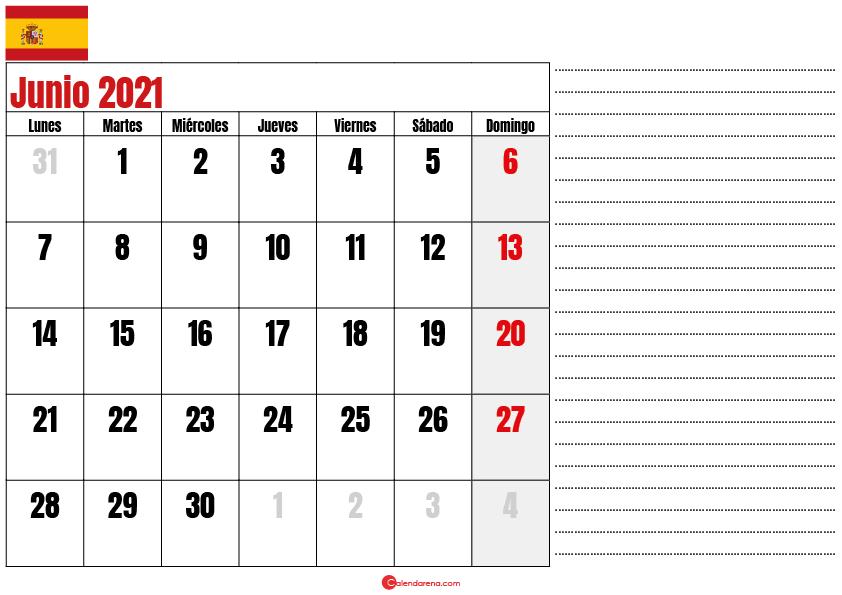 junio 2021 calendario espana