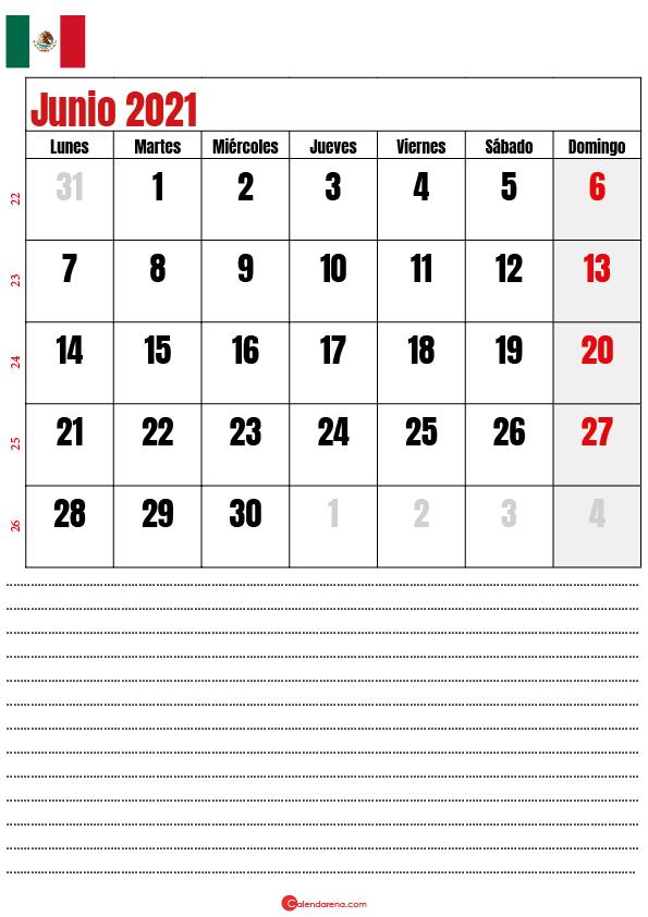 junio 2021 calendario mexico2