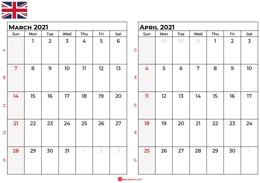 march april 2021 calendar UK
