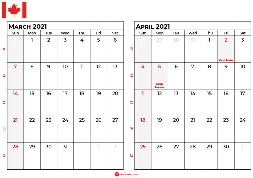 march april 2021 calendar canada