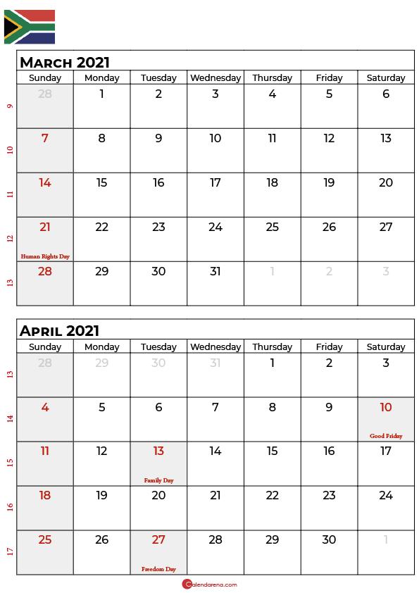march april 2021 calendar sa