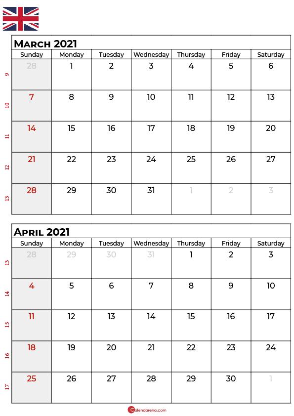 march april calendar 2021 UK