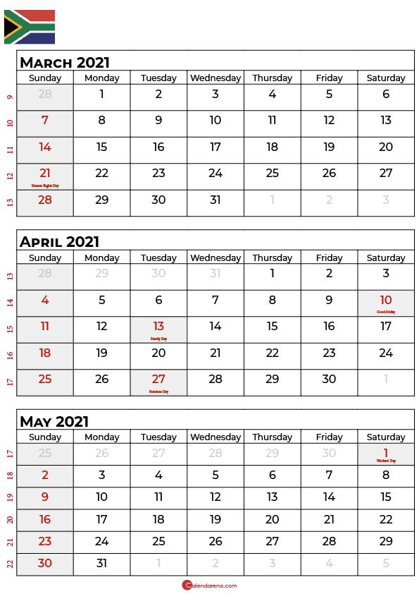 march april may 2021 calendar sa