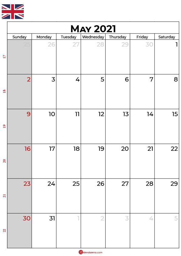 may 2021 calendar uk