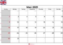 may calendar 2021 UK
