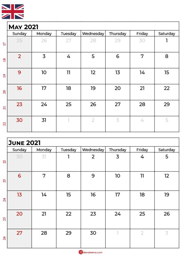 may june 2021 calendar UK
