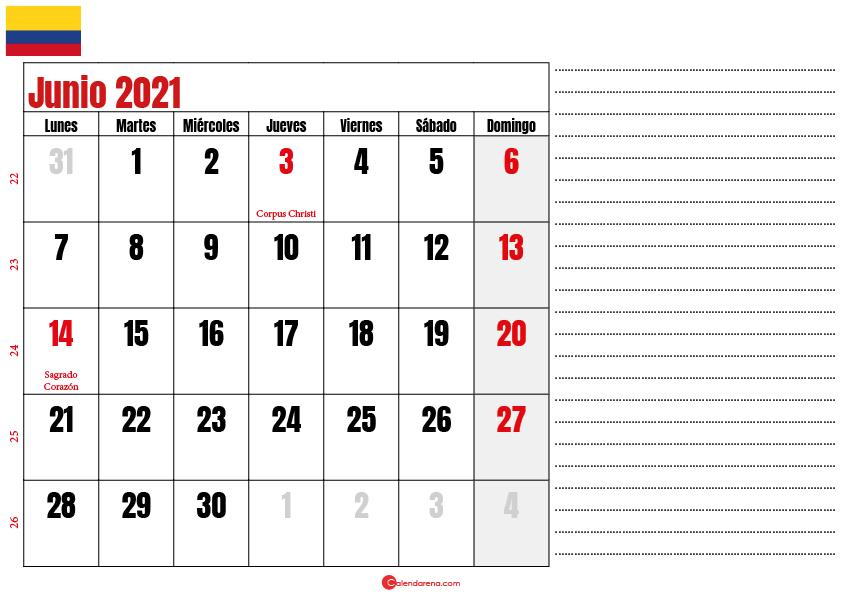 almanaque junio 2021 colombia