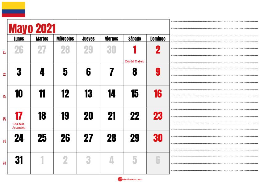 almanaque mayo 2021 colombia
