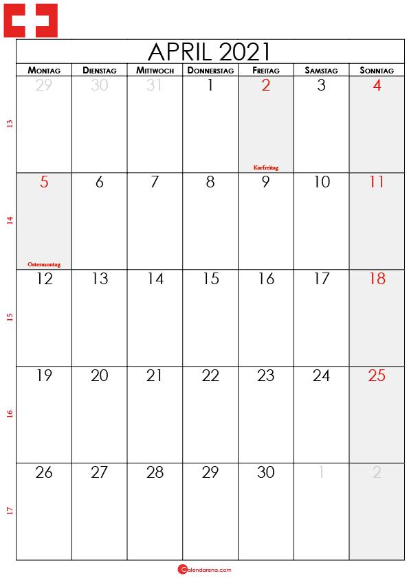 april 2021 kalender Schweiz