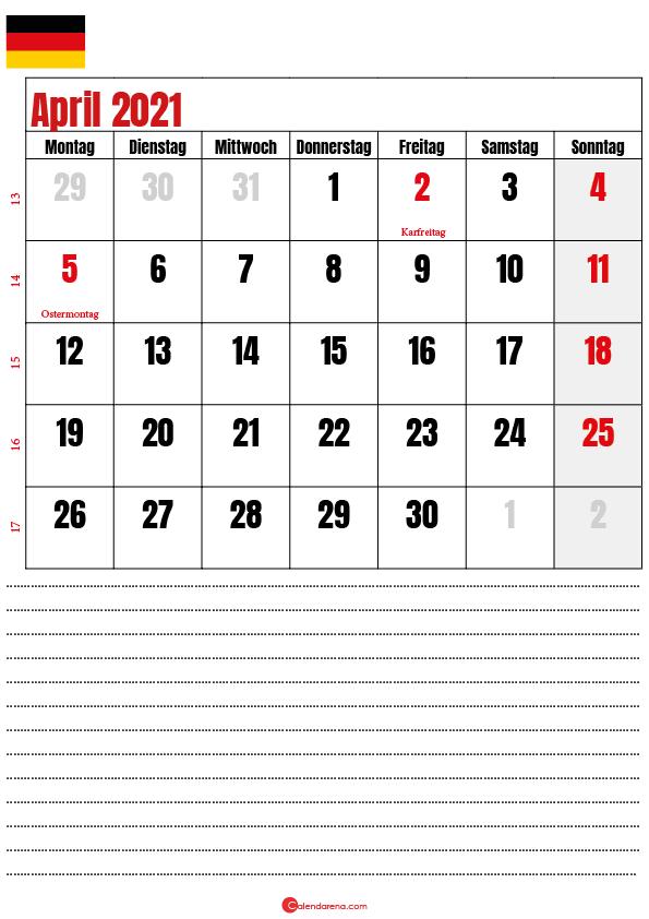 april kalender 2021 Deutschland