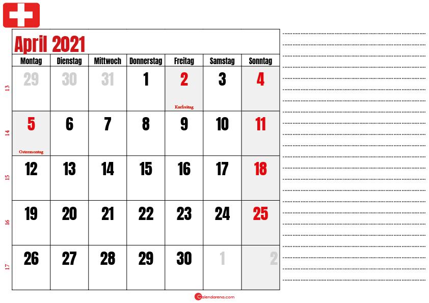 april kalender 2021 Schweiz