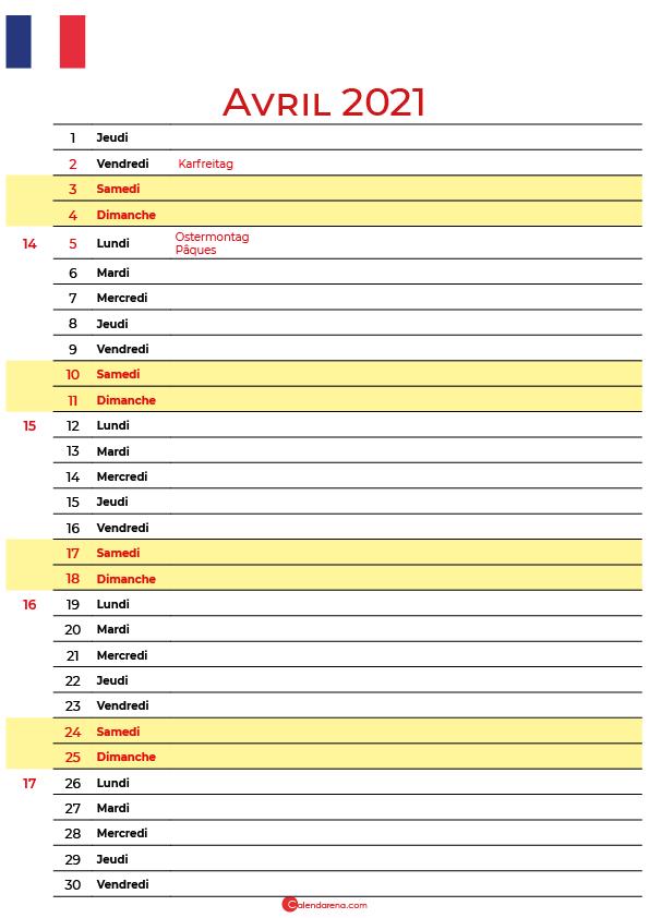 avril 2020 calendrier france