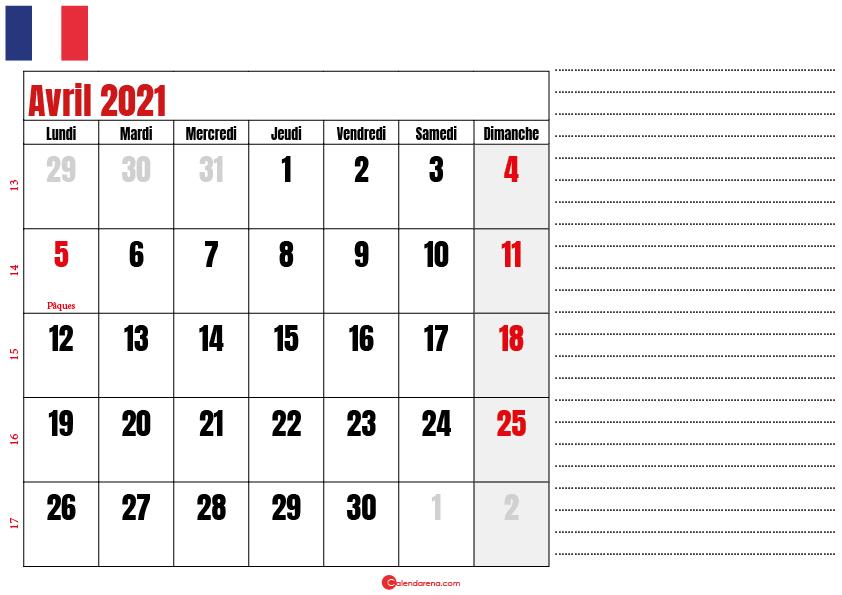 avril calendrier 2021 france