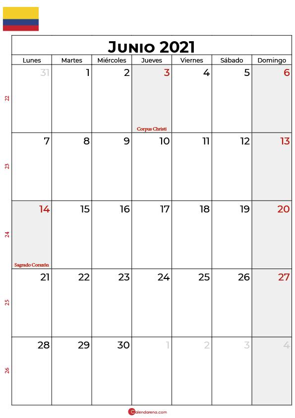 calendario 2021 junio colombia