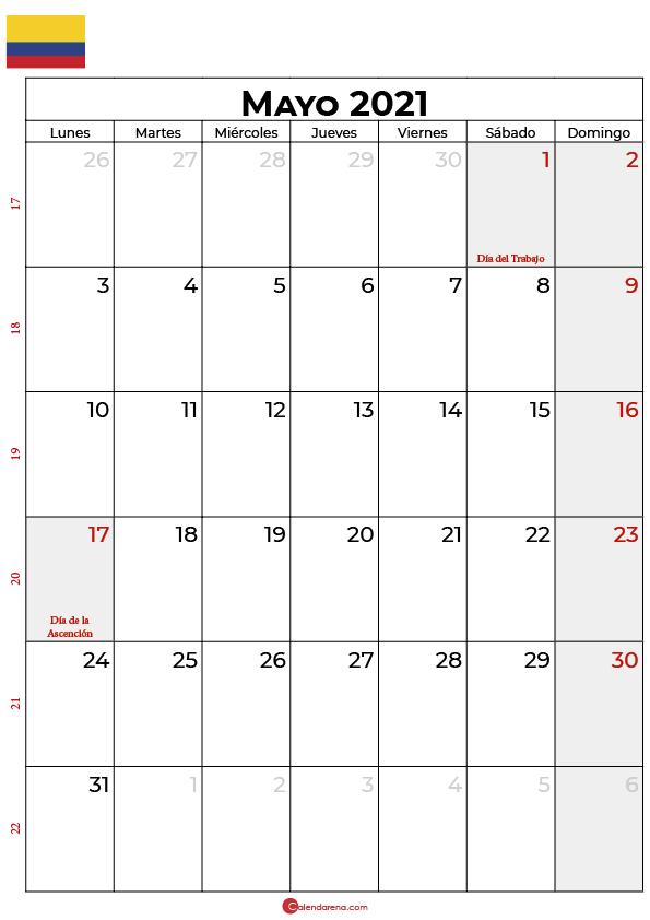 calendario 2021 mayo colombia