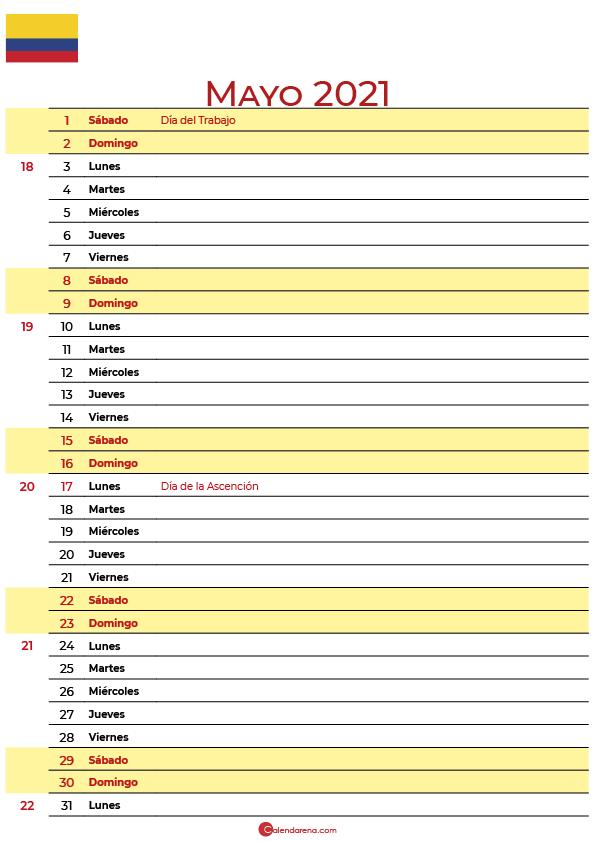 calendario de mayo 2021 colombia
