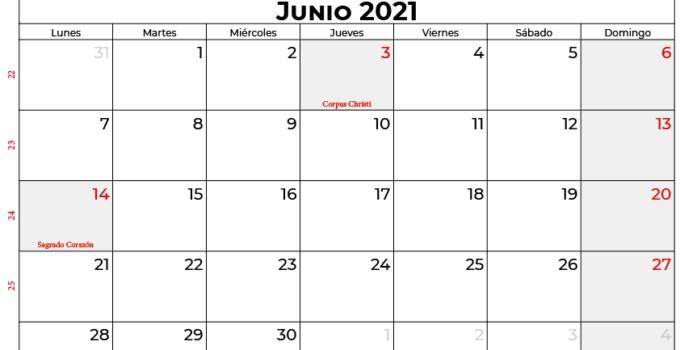 calendario junio 2021 colombia
